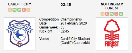 Prediksi Skor Cardiff City vs Nottingham Forest 26 Februari 2020
