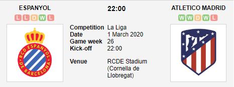 Prediksi Skor Espanyol vs Atletico Madrid 1 Maret 2020