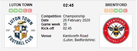 Prediksi Skor Luton Town vs Brentford 26 Februari 2020
