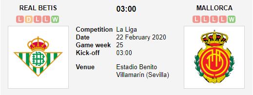 Prediksi Skor Real Betis vs Mallorca 22 Febuari 2020