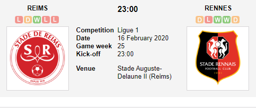 Prediksi Skor Reims vs Rennes 16 Febuari 2020