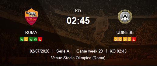 Prediksi SKor As Roma vs Udinese 3 Juli 2020