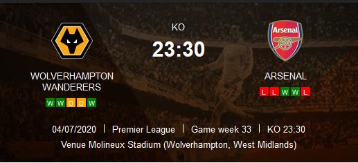 Prediksi SKor Wolverhampton Wanderers vs Arsenal 4 Juli 2020