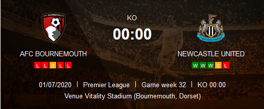 Prediksi Skor AFC Bournemouth vs Newcastle United 2 Juni 2020