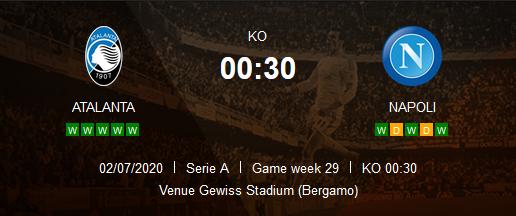 Prediksi Skor Atalnta vs Napoli 3 Juli 2020