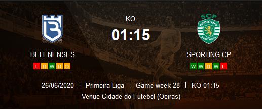 Prediksi Skor Beleneses vs Sporting CP 27 Juni 2020