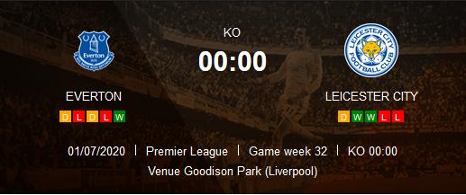 Prediksi Skor Everton vs Leicester City 2 Juni 2020