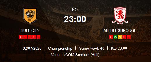 Prediksi Skor Hull City vs Middlesbrough 2 Juli 2020