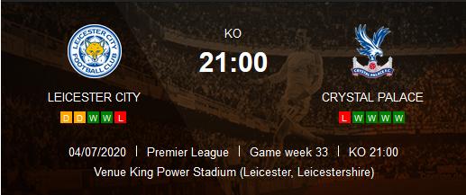 Prediksi Skor Leicester City vs Crystal Palance 04 Juli 2020