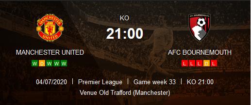 Prediksi Skor Manchester United vs AFC Bournemouth 4 Juli 2020