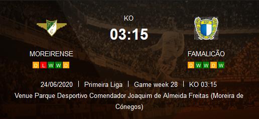 Prediksi Skor Moreirense vs Famalicao 25 Juni 2020