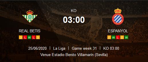 Prediksi Skor Real Betis vs Espanyol 26 Juni 2020