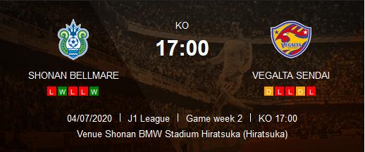 Prediksi Skor Shonan Bellmare vs Vegalta Sendai 04 Juli 2020