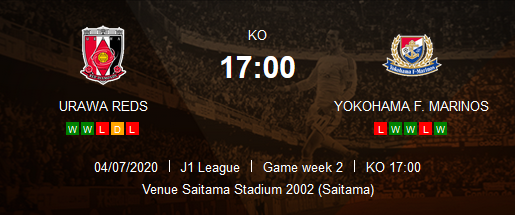 Prediksi Skor Urawa Reds vs Yokohama F.Marinos 04 Juli 2020