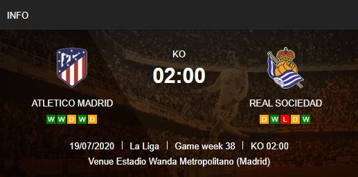 Prediksi Atletico Madrid vs Real Sociedad 19 Juli 2020