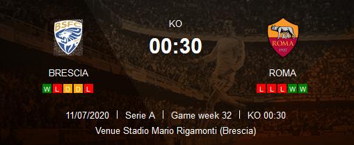 Prediksi Skor Brescia vs AS Roma 12 Juli 2020
