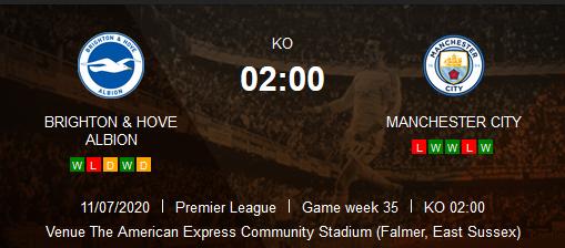 Prediksi Skor Brighton Hove Albion vs Manchester City 12 Juli 2020