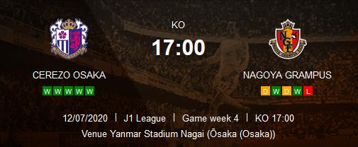 Prediksi Skor Cerezo Osaka vs Nagoya Grampus 12 Juli 2020