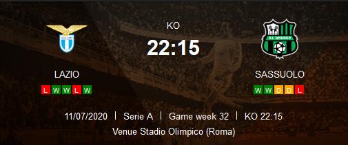 Prediksi Skor Lazio vs Sassuolo 11 Juli 2020